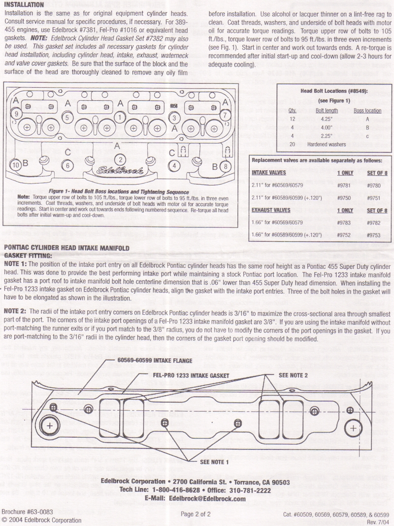 Pontiac Engine Specs