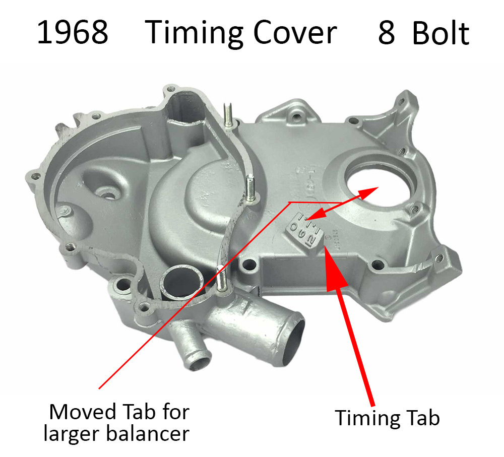 Pontiac Timing Cover Identification 4 2 Engine Diagram 68 1968 8 Bolt Tab Style Balancer Clearance Update