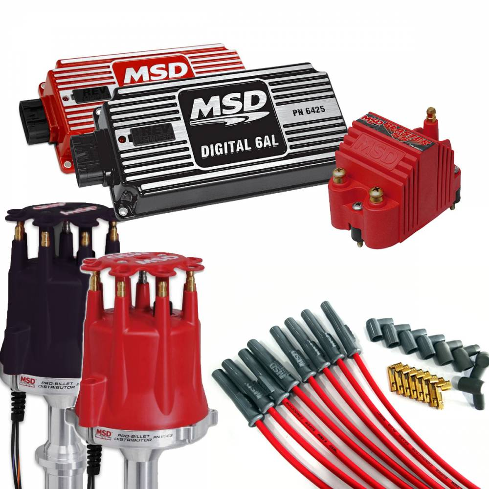 Complete MSD Ignition Kit, Dist, Wires, Coil, and Ignition, Red