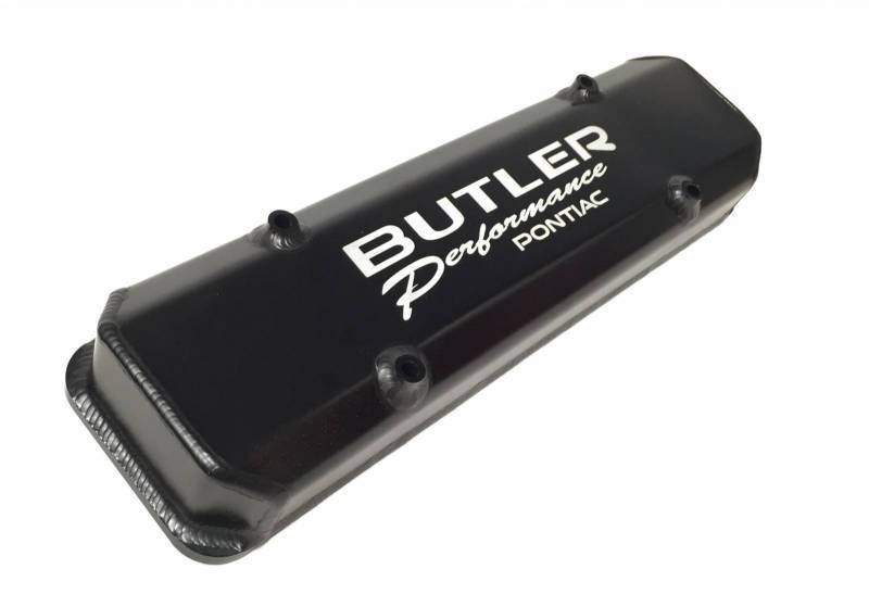 "Butler Performance - Butler Performance ""Butler Performance Pontiac"" Laser Etched Short (2 3/4) Black Fab Aluminum Valve Covers (Set) BFA-SVC2-BA"