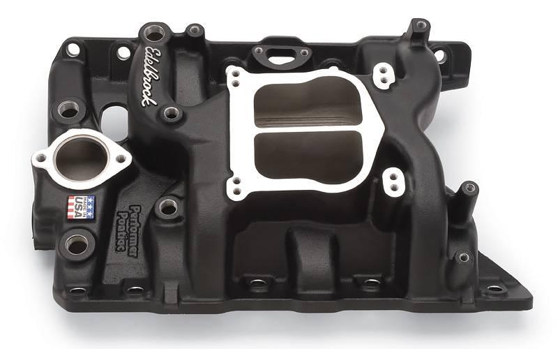 Edelbrock - Edelbrock Performer Intake Manifold, Black, PONTIAC 326-455 V8 EDL-21563