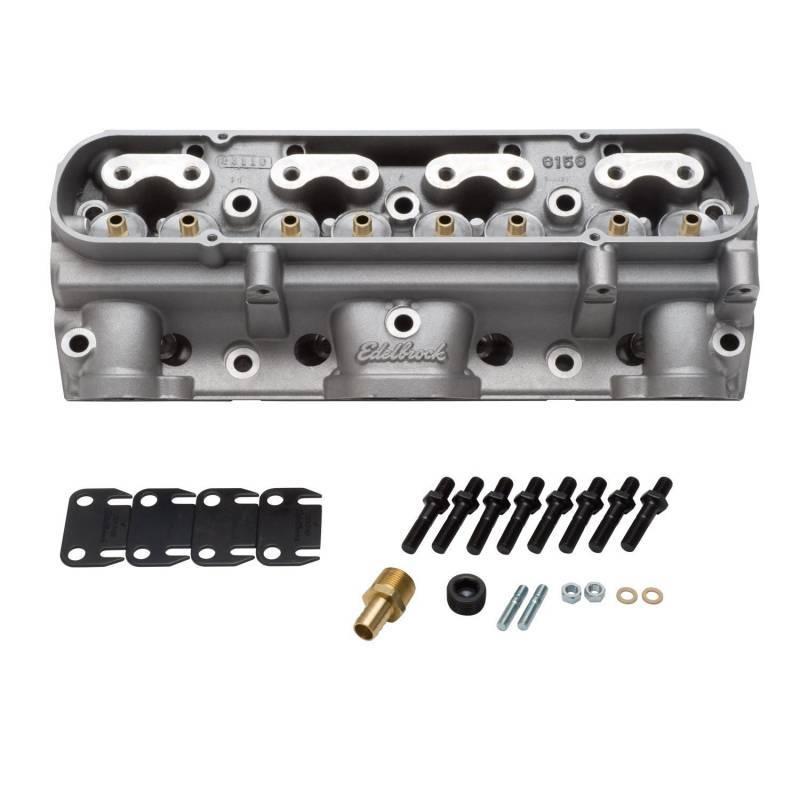 Edelbrock - Edelbrock 65cc Aluminum D Port Bare Pontiac Cylinder Heads, As Cast Chambers (Pair) EDL-61539-2