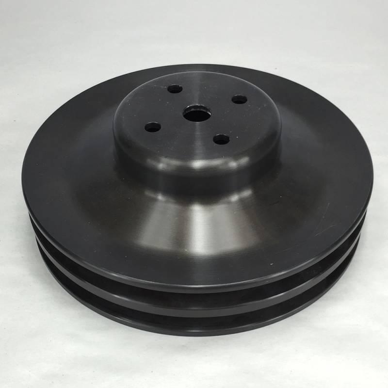 "Ram Air Restorations - RAR Pontiac Pontiac 2 Groove Water Pump Pulley, 1969 1/2-1970 w/4.50"" water pump, 8"", Black Powdercoated,**NON A/C Applications**RAR-PLW2B"