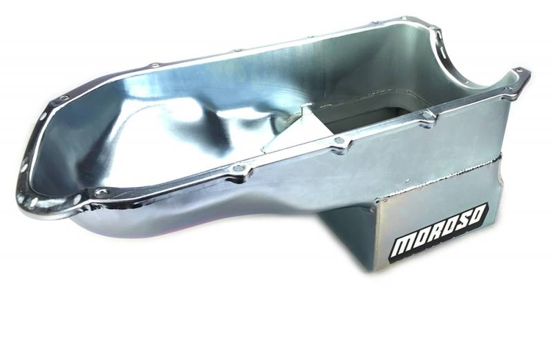 Moroso - Moroso Pontiac 301-455 Oil Pan, Steel, Clear Zinc, Deep Sump. MOR-20490