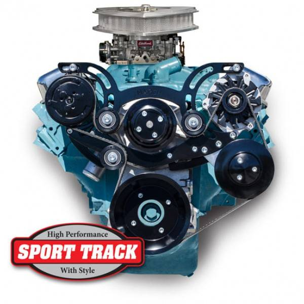 """March Performance - March """"Sport Track"""" Serpentine System Kit, '67-69 FB, w/Power Steering, Black or Silver MAR-13205"""
