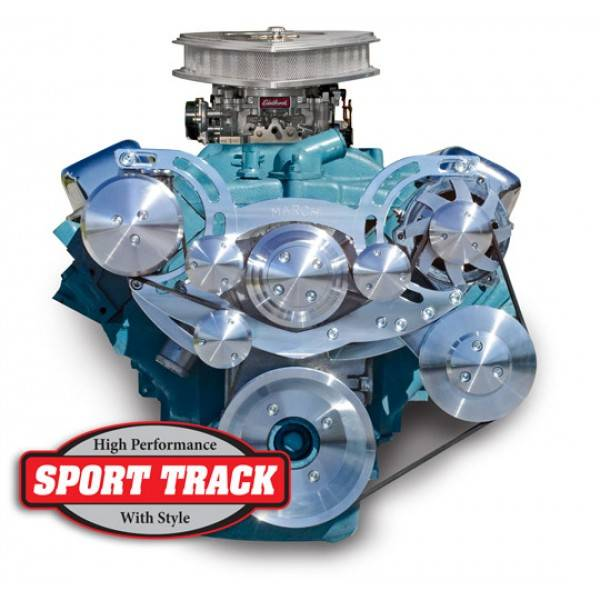 "March Performance - March ""Sport Track Ultra"" Serpentine System Kit, '64 up GTO, '70 up FB, w/Power Steering, Clear, Black, Onyx, or Chrome MAR-13230"