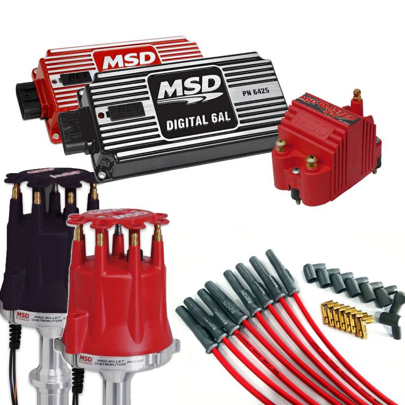 MSD Performance - Complete MSD Ignition Kit, Dist, Wires, Coil, and Ignition, Red or Black MSD-KIT