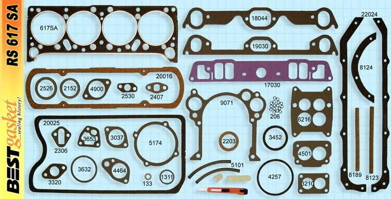 Best Gasket - Best Gasket Complete Engine Gasket Kit,w/ Rear Main Rope SealPontiac 1958-60 370-389 BGA-RS617SA
