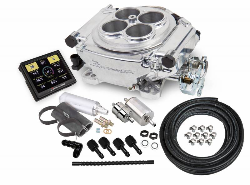 Holley - Holley Sniper EFI Self-Tuning w/Fuel System+ handheld EFI monitor- Shiny Finish HLY-550-510k