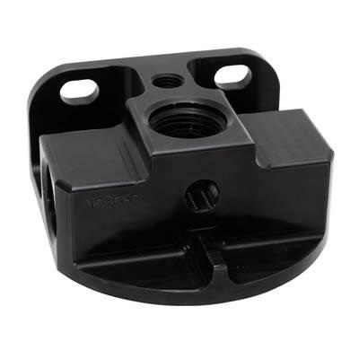 Moroso - Moroso Aluminum Remote Oil Filter Bracket, In-Line, Black MOR-23763