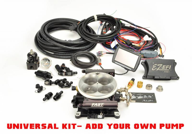 F.A.S.T. - FAST EZ-Fuel EFIInjection System with Universal Fuel Kit (EZ-EFI 1.0), w/4150 Blk TB, w/Touchscreen FAS-30227-06KIT-NP
