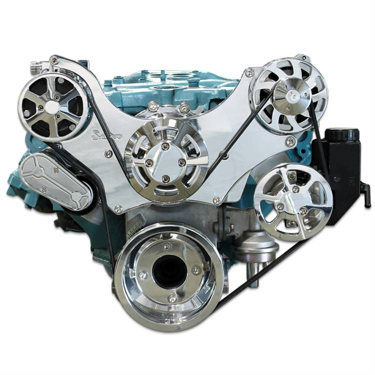 Eddie's Motorsports - 64-68 Pontiac S-Drive Serpentine System for 8 bolt Water Pump w/ AC and Power Steering, Polished