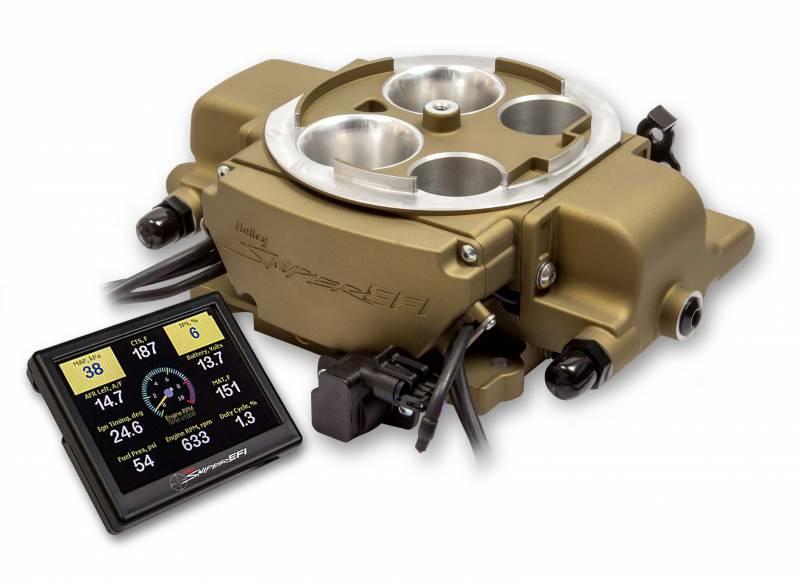 Holley - Holley Sniper EFI Quadrajet Self-Tuning w/ handheld EFI monitor, Classic Gold Finish