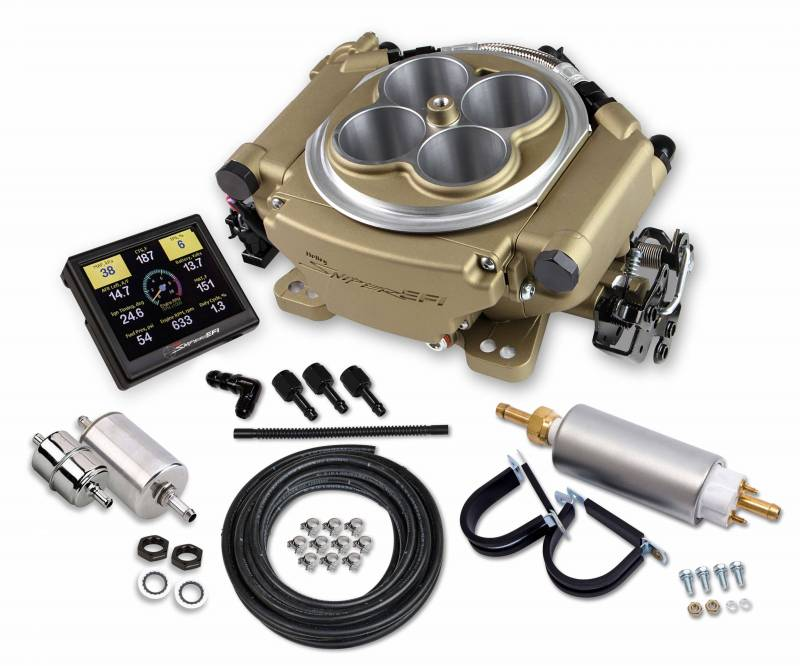 Holley - Holley Sniper EFI Self-Tuning kit + handheld EFI monitor- Classic Gold Finish, w/Fuel System  HLY-550-516K
