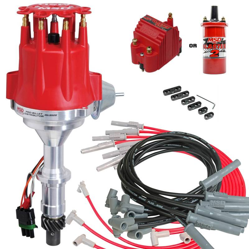 MSD Performance - Complete MSD Ready to Run Ignition Kit, Dist, Wires, Coil Red or Black MSD-KIT-8528