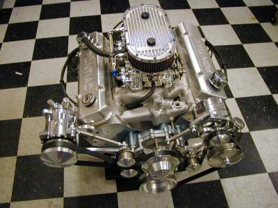 Butler Performance 461-474 c.i. Crate Engine with Edel. Lowrise 2x4 intake and 2 Edel. carbs. Starts at 500 HP and 550 ft.lbs. of torque.(Up to 600 + HP on Pump Gas) Many custom options available. Cover