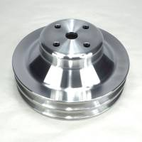"Pulleys & Serpentine Belt Systems - Pulleys- V-Belt - Ram Air Restorations - RAR Pontiac Pontiac 2 Groove Water Pump Pulley, 1969 1/2-1970 w/4.50"" water pump, 6 1/2"", Aluminum Finish, **A/C Applications** RAR-PLW3"