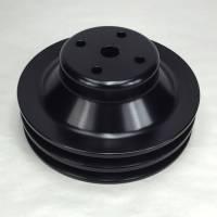 "Pulleys & Serpentine Belt Systems - Pulleys- V-Belt - Ram Air Restorations - RAR Pontiac Pontiac 2 Groove Water Pump Pulley, 1969 1/2-1970 w/4.50"" water pump, 6 1/2"", Black Powdercoated,**A/C Applications**RAR-PLW3B"