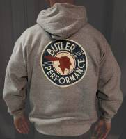 Apparel, Decals, Books, Gift Cards - Shirts/Hoodies - Butler Performance - CLOSE OUT Butler Grey Service Logo Hoodie, Small-4XL BPI-Hoodie-Service