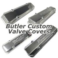 Valve Covers, Breathers, Oil Fill Caps - Butler Custom Valve Covers - Butler Performance - Pontiac Custom Fab Aluminum Valve Covers, Raw Aluminum Finish, Choose Your Options (Set) BFA-VC-