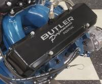 Valve Covers, Breathers, Oil Fill Caps - Butler Custom Valve Covers - Butler Performance - Pontiac Custom Fab Aluminum Valve Covers, EVAC Baffle Installed, Black Powder Coated, Choose Your Options (Set) BFA-VC-BK-EVAC