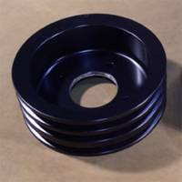 Pontiac 3-Groove Crankshaft Pulley for 1971 and later A/C Applications-Black Anodized